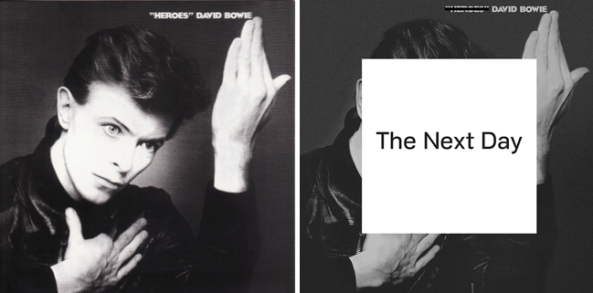 Capas de Heroes (1977) e The Next Day (2013)
